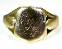 Vintage Shield Signet 9ct Yellow Gold Ring size S 1/2 ~ 9 1/2