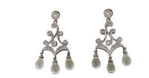18K White Gold Real Natural White Topaz Diamonds Pear Drops Chandelier Earrings