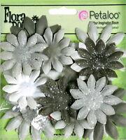 Fabric SILVER GRAY with Glitter Petals + Centres Medium 4-5cm 20 Piece Petaloo I