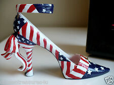 New listing Mini Collectible Shoe J.Strait Design American Flag July 1 Celebration Resin New