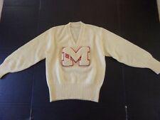 "Vintage 1940s V Neck Letterman Varsity ""M"" Sweater Wool Ivory Red Letter Sz 36"