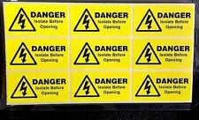 9 X aislado de peligro antes de la apertura de las etiquetas, pegatinas eléctrico 49 x25mm Gratis P&P