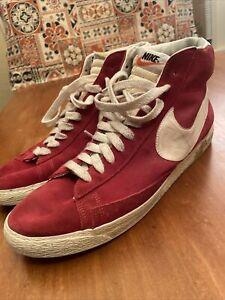VTG NIKE BLAZER Hi Suede Sneaker Shoes 344344 611 Varsity Red Mens Size US 14