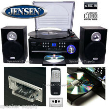 Jensen JTA-475B Radio Turntable Record Player Remote CD Mp3 Cassette Aux System