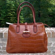 Handbag - GaBaagns Crocodile Pattern - Rich Dark Brown - Gold Tone Metal Clasp