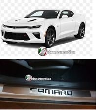 2 DOOR SILL COVERS PROTECTORS STEEL  BRUSHED WITH LOGO CHROME Chevrolet Camaro