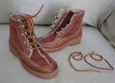 Womens Leather Shearling Lined Winter Mukluk Lace Up Boots Size 7 Made in Italy