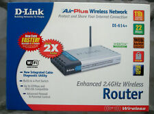 DLINK DI-614+ 2.4 GHZ wireless router, power supply, cables, CD, manual