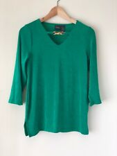 Chicos Travelers Green Bamboo Keyhole 3/4 Sleeves Tunic Top Women XL Size 3