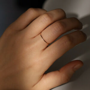 fine minimal dainty delicate thin yellow gold ring US5 or US6 faceted sparkle wavy wire,gift jewelry AU750 Solid 18K gold thin band ring