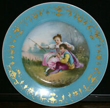 Sevres Style Courting Couple Fishing Hand Painted French Porcelain Plate * Lot 9