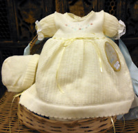 NWT Will'beth Yellow Knit Ribbon Girls Dress 3pc Newborn 0 Bonnet Bloomers Baby