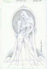Emma Frost White Queen Full Fig Pencil Pin-Up - 2005 Signed art by Alex Miranda
