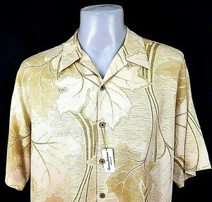 "TOMMY BAHAMA Mens Silk Beige HAWAIIAN S/S SHIRT U/Soft - XL - Chest 52"" -RRP £99"