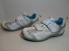 Garneau Multi Ergo-Grip Cycling Shoes Womens Size 7M White-Silver-Blue & Shimano