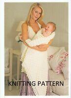 (742) Baby Shawl Copy Knitting Pattern and Pram Blanket in DK yarn