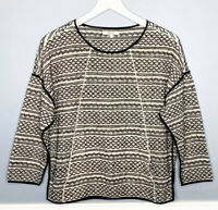 Madewell Small Tidalwave Pullover Top Black Piping Front Pocket 3/4 $98