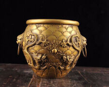 Chinese Old Handmade Carving Brass Dragon Phoenix Pot Crock Incense Burner