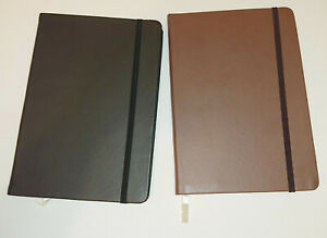 A5 NOTEBOOK Journal FAUX LEATHER Black or Brown ELASTIC CLOSE Cream Lined Paper