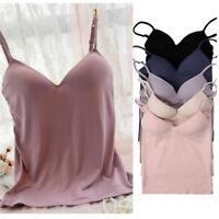 Womens Adjustable Strap Tops Built In Bra Padded Bra Cami Tank Vest Jian