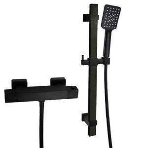 Black Thermostatic Shower Mixer Bar Square Handset Riser Rail Kit Exposed Shower