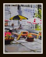 The Beer Garden : Original Impressionist Acrylic Oil Painting Paul Mitchell