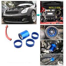Blue Air Intake Turbonator Dual Fan Turbine Turbo Supercharger Gas Fuel Saver