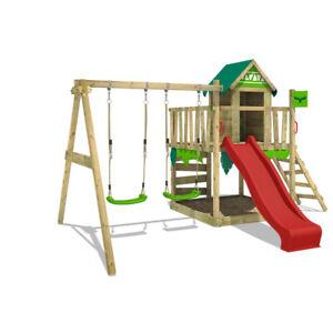 FATMOOSE JazzyJungle Jam XXL Wooden ClimbingFrame SuperSwing & red Slide