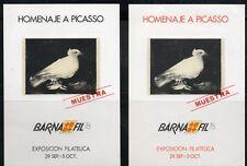 Hoja Recuerdo  1978  Edifil 67 / 68  MUESTRA  HOMENAJE A PICASSO  BARNAFIL 78