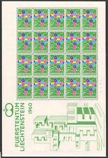 1960 Europa Cept Liechtenstein Minisheet Fold Di 20 Stamps MNH