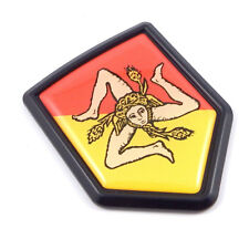 Sicily SIcilian Italian Flag Black Shield emblem Car bike Decal crest 3D sticker