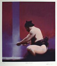Charles Willmott recevant power eau sumo wrestling signé taille: 64cm x 59cm