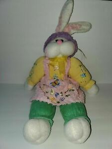 "Bunny Plush Rabbit Jumbo Large Yellow/green/ Pink Nose 27"" Easter"