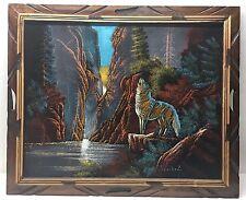 VINTAGE Mid Century Velvet Painting OPTICAL Illusion Signed Sanchez Original
