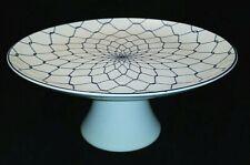 White Modern Pedestal Cake Stand Navy Blue Design Ceramic Porcelain
