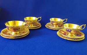 Set x 4 Aynsley Artist Decorated Harvest Fruit Still Life Cup/Saucer/Plate Trios