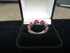 Created Diamond Ruby Ring 925 Sterling Silver Stackable