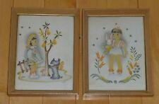 VTG 1940s ? Artist Helen Lietta Dowd Art Print Set Girl Schnauzer Dog; Boy Bunny