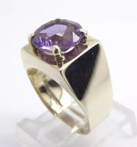 Amethyst Solitaire Ring - 9ct Yellow Gold - Wide Band - UK Size N