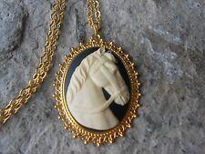 HORSE CAMEO GOLD TONE PENDANT NECKLACE - UNIQUE - HORSE LOVER GIFT - VET