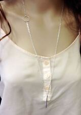 Chic Simple Boho Karma Circle Long Bar Pendant Tiny Necklace Chain Silver plated