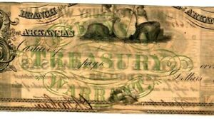 "$10 ""ARKANSAS"" (TREASURY WARRANT) 1800'S RARE! $10 ""BEAUTIFUL""!!! SUPER CRISPY!!"