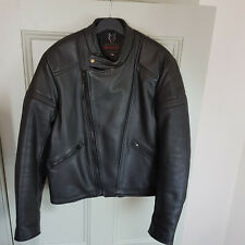 Wolf Black Leather Motorcycle Jacket Size 42 Chest Padded Made In England Biker