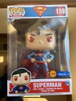 "RARE CHASE METALLIC Superman 10"" WALMART Funko Pop Vinyl New in Mint Box"