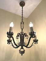 1920-30s Spanish Revival 5 Light Iron Hanging Fixture