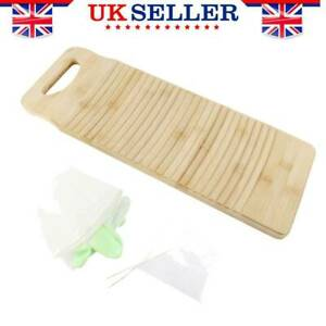 Wooden Washboard Hand Washing Board Clothes Clean Laundry +1 Pair Gloves 50X18cm