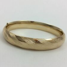 10MM WIDE 14K YELLOW GOLD BANGLE BRACELET