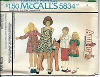 M 5834 sewing pattern 70's Annie DRESS TOP JUMPER KNICKERS sew girl size 7 UNCUT