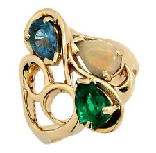 Women's 3 ct Natural Opal, Sapphire, Emerald Gemstone Ring 14k Solid Yellow Gold