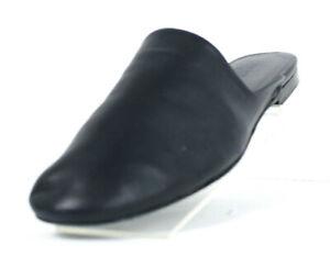 THE ROW Deep Navy Blue Lambskin Leather GRANPA Flats Mules Slippers 39
